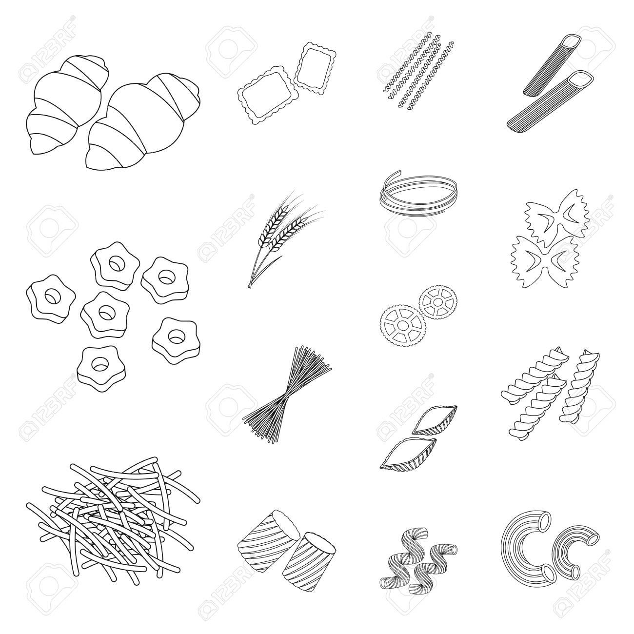Types D'icônes De Pâtes Dans La Collection De Jeux Pour La Conception.  Macaroni Figuré Pour Manger Une Illustration De Stock Symbole Vecteur. intérieur Jeux Pour Manger