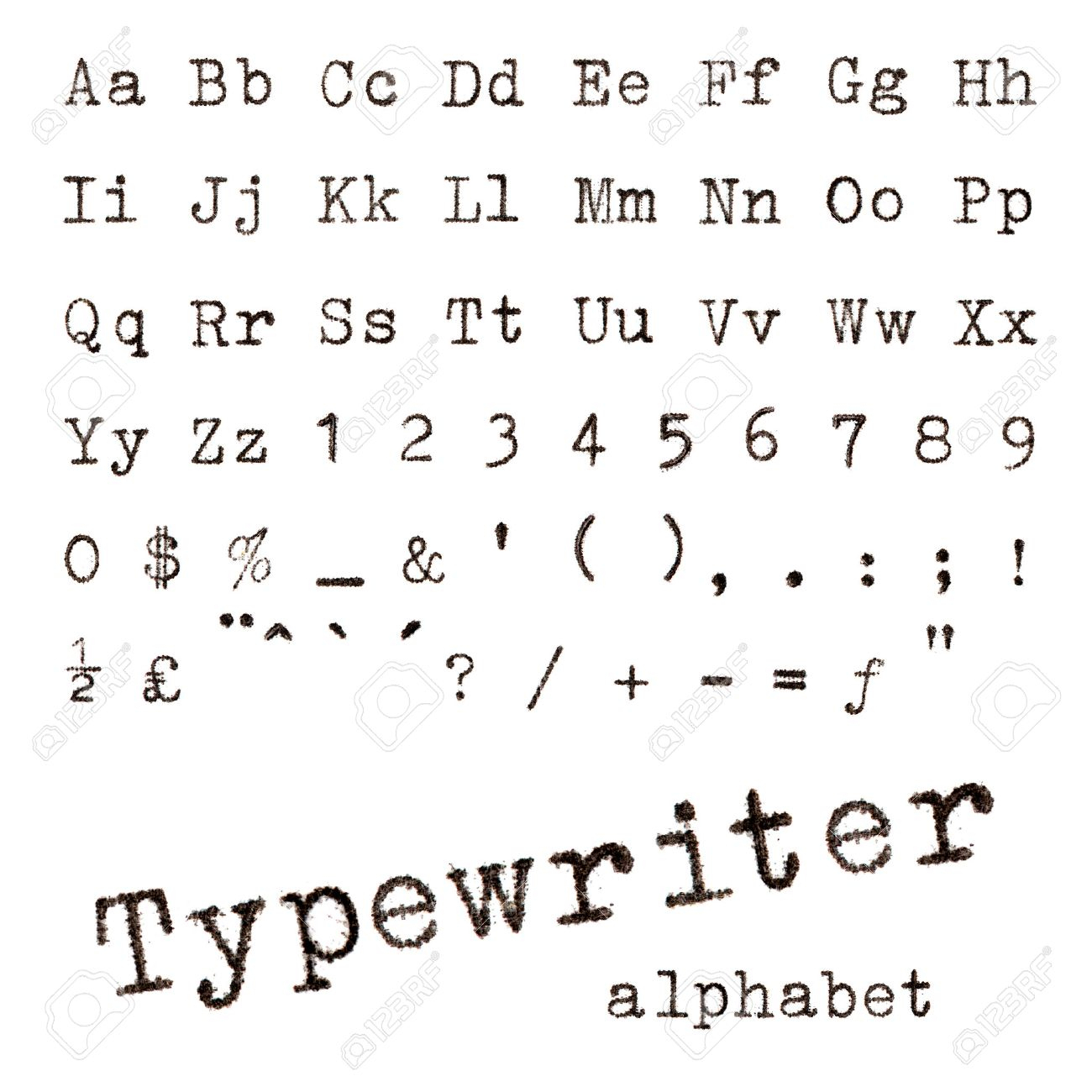Typewriter Alphabet Macro Photographie De Lettres De Machine À Écrire Isolé  Sur Blanc intérieur Ecrire L Alphabet