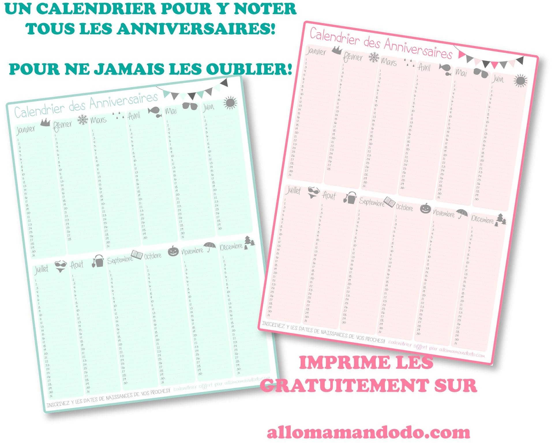 Un Calendrier Des Anniversaires… Pour Ne Jamais Plus Les concernant Calendrier Des Anniversaires À Imprimer