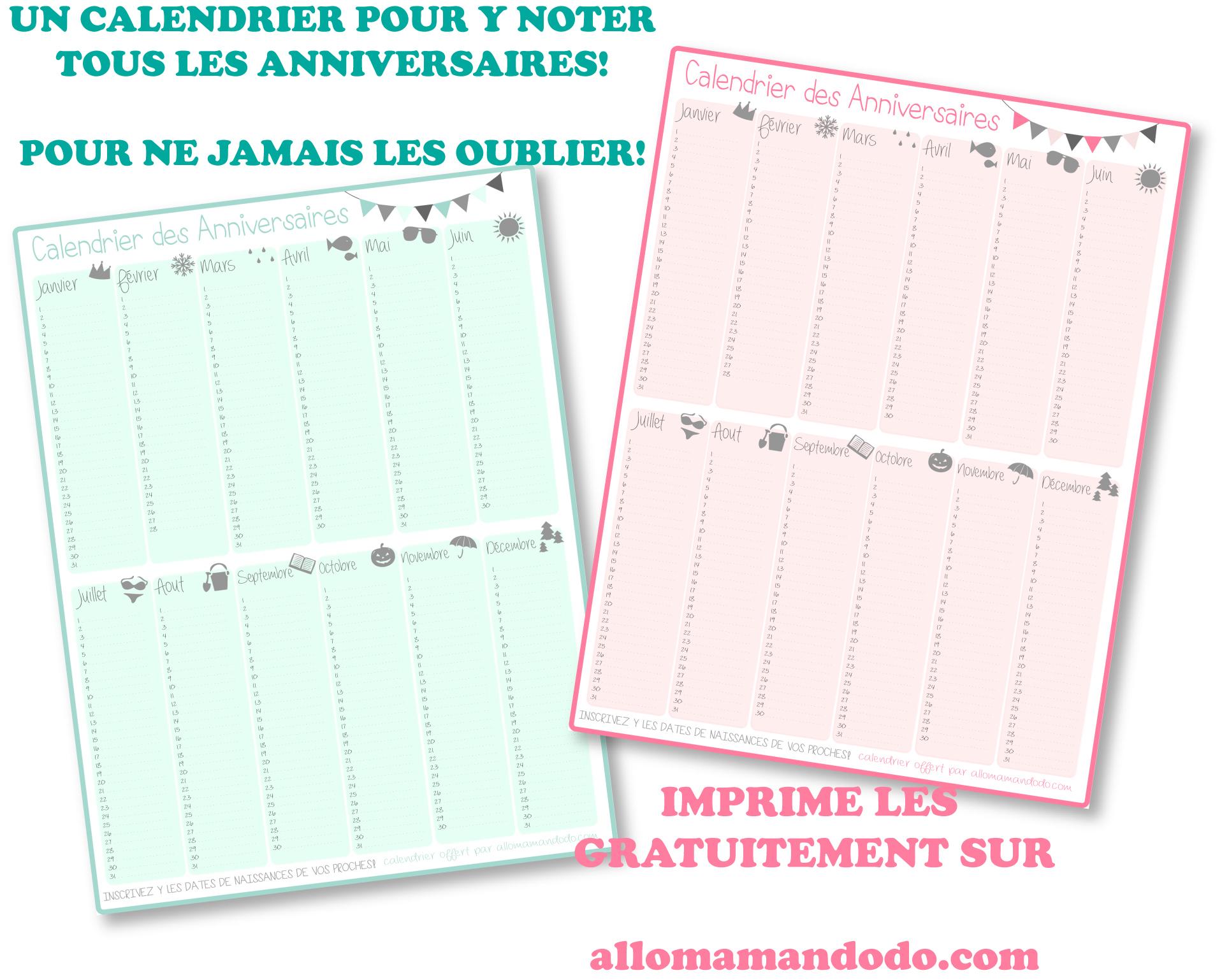 Un Calendrier Des Anniversaires… Pour Ne Jamais Plus Les destiné Calendrier Perpetuel Gratuit Imprimer
