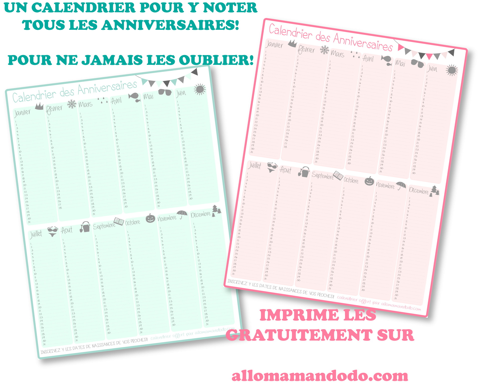 Un Calendrier Des Anniversaires… Pour Ne Jamais Plus Les pour Calendrier Anniversaire À Imprimer