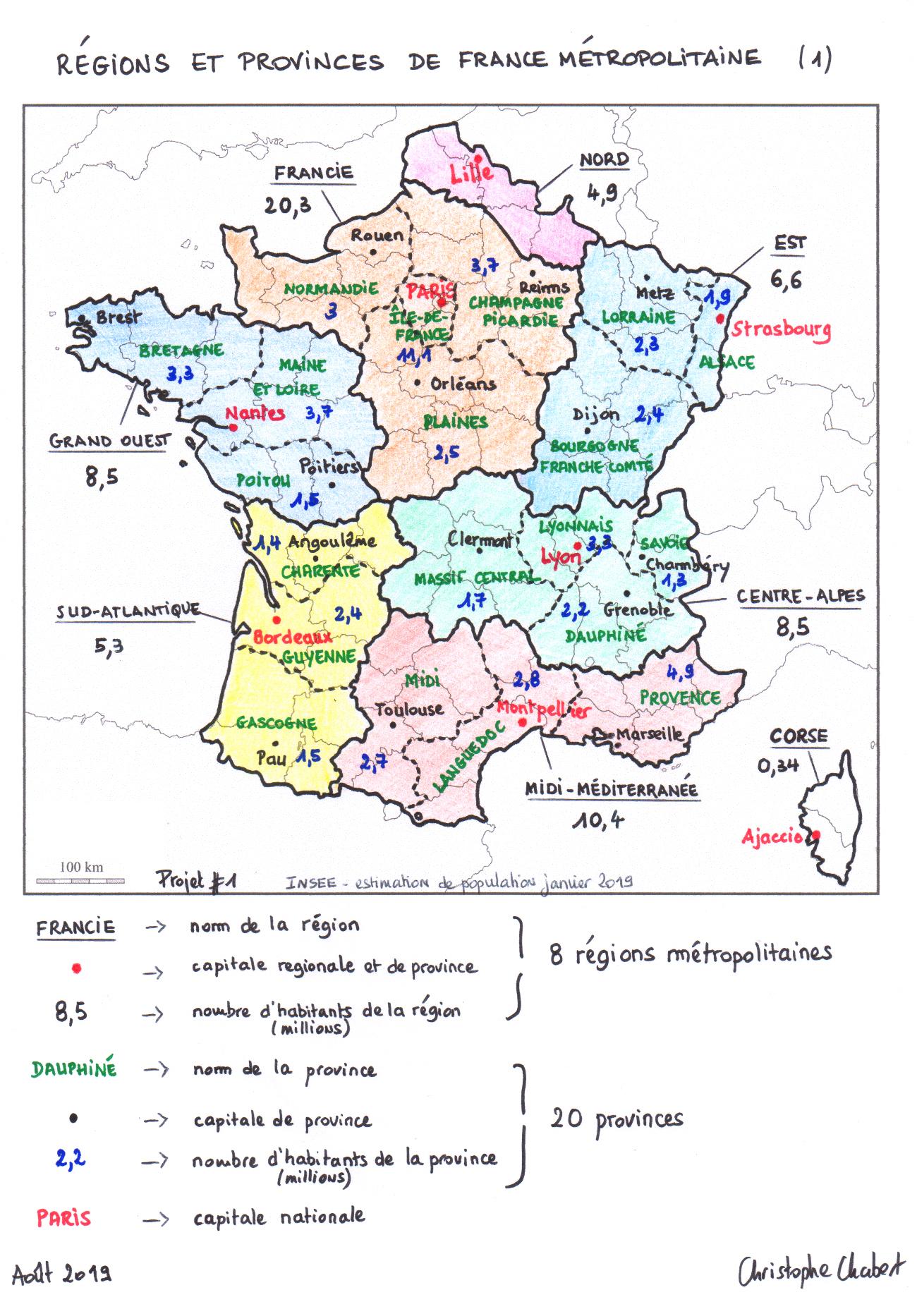 Un Découpage De La France En 13 Régions Et 20 Provinces pour 13 Régions Françaises