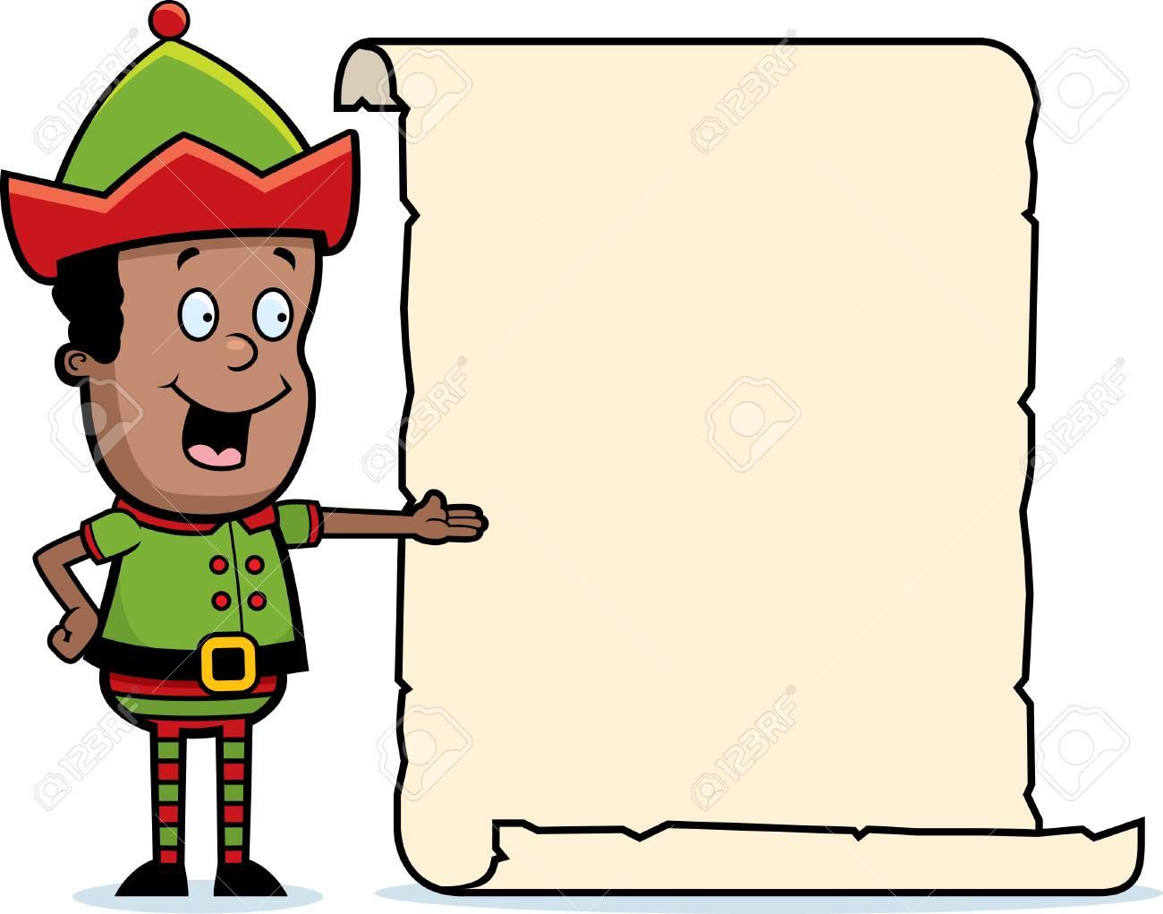 Un Dessin Animé Lutin De Noël Heureux Avec Une Liste. destiné Dessiner Un Lutin