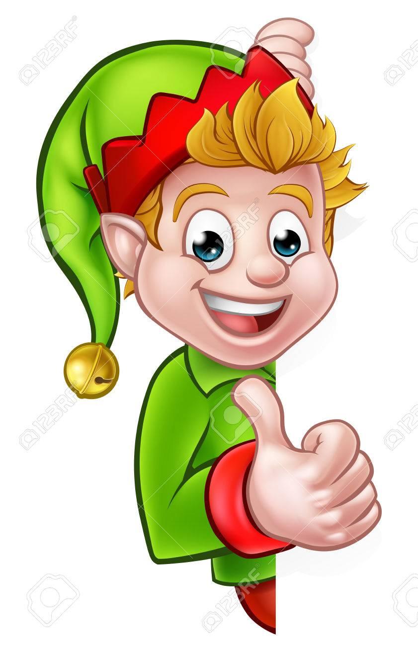 Un Dessin Animé Lutin De Noël Mignon Peeping Autour De Signe Et De Donner  Un Coup De Pouce concernant Dessiner Un Lutin