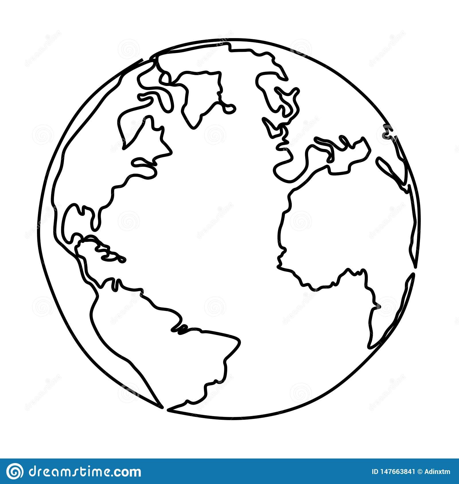 Un Dessin Au Trait De Conception Minimaliste De La Terre avec Image De La Terre Dessin