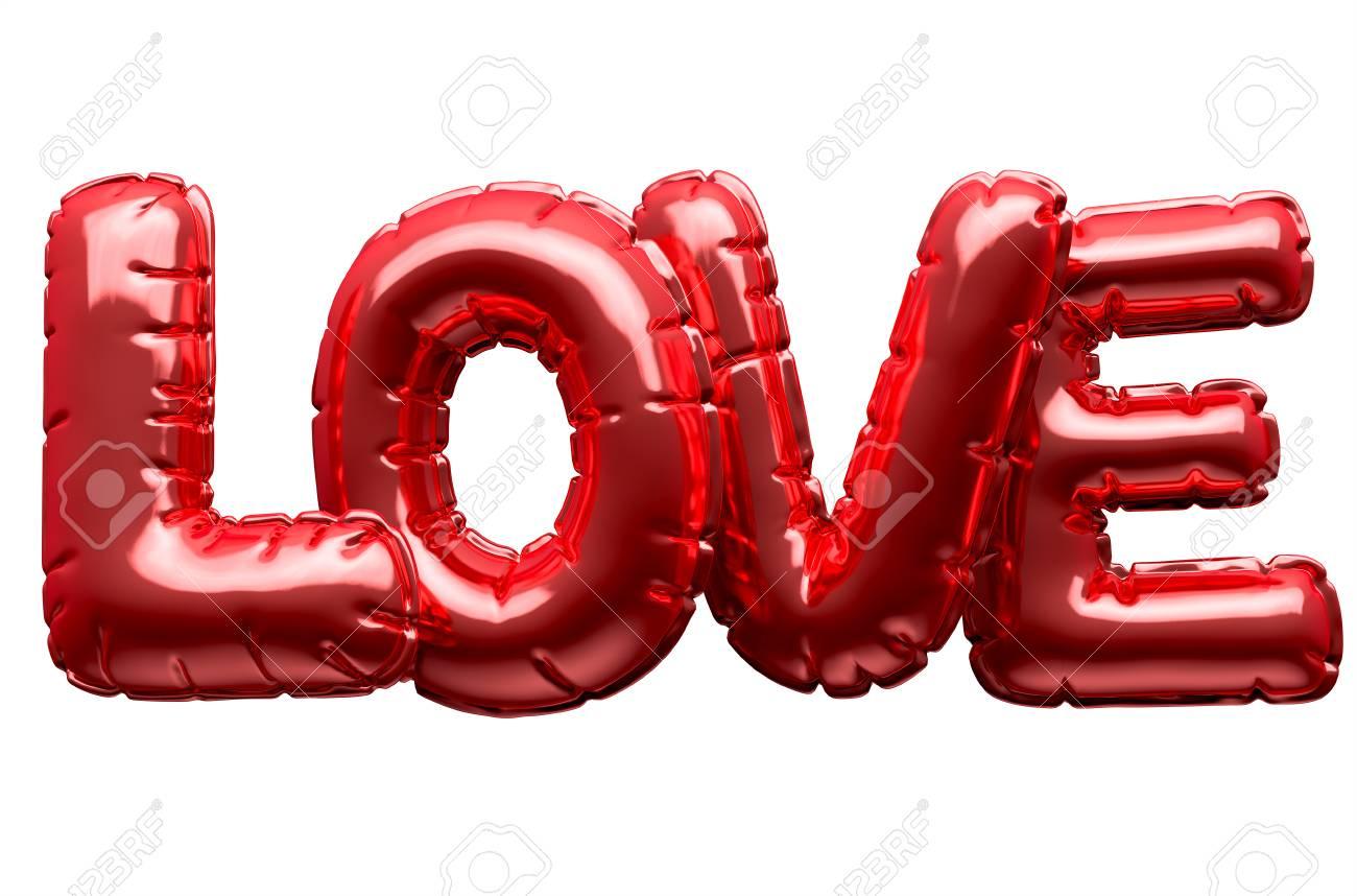 Un Ensemble De Quatre Lettres Ballon Métalliques Épelant Le Mot Amour Pour  Commémorer La Saint Valentin Sur Un Fond Blanc Isolé - Rendu 3D dedans Un Mot Pour Quatre Images