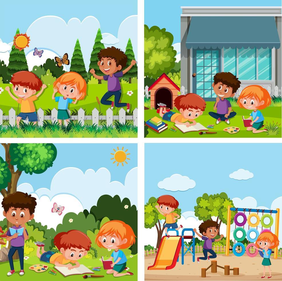 Un Ensemble D'enfants Jouant Au Terrain De Jeux destiné Telecharger Jeux Enfant