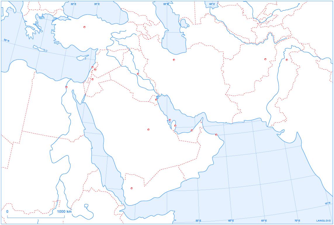 Un Fond De Carte Du Proche Et Du Moyen-Orient | Langlois pour Carte Europe Vierge À Compléter En Ligne