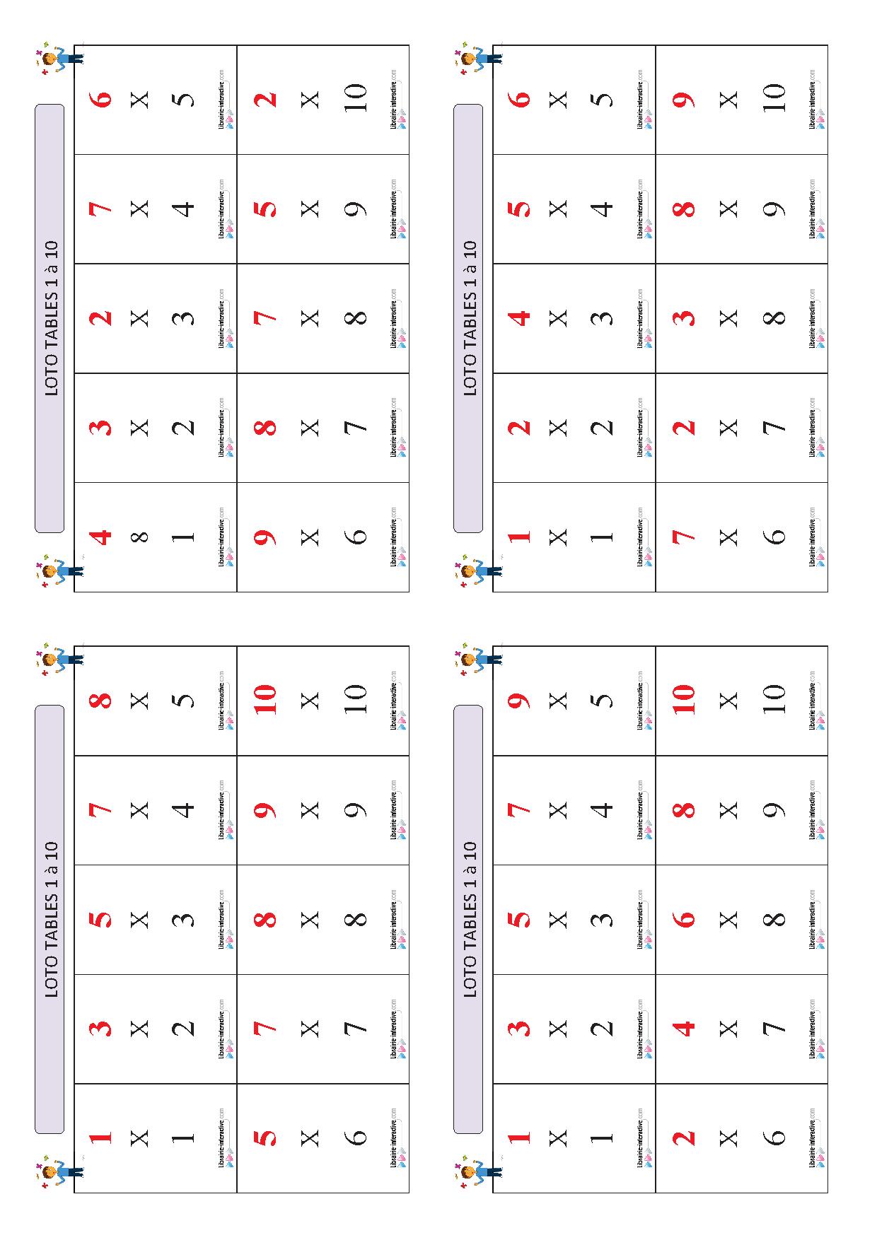 Un Jeu De Loto Pour Apprendre Et Mémoriser Les Tables De avec Tables De Multiplication Jeux À Imprimer