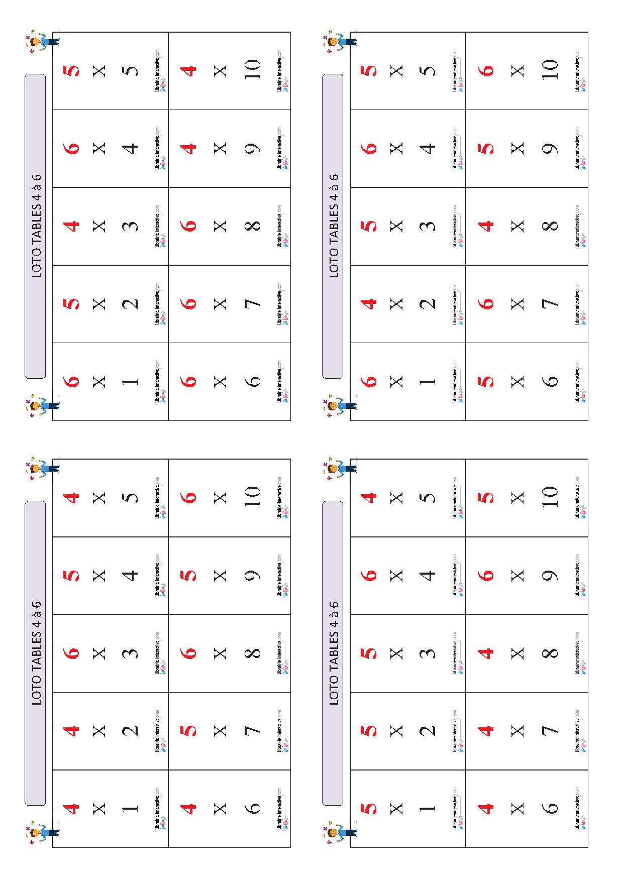 Un Jeu De Loto Pour Apprendre Et Mémoriser Les Tables De intérieur Tables De Multiplication Jeux À Imprimer