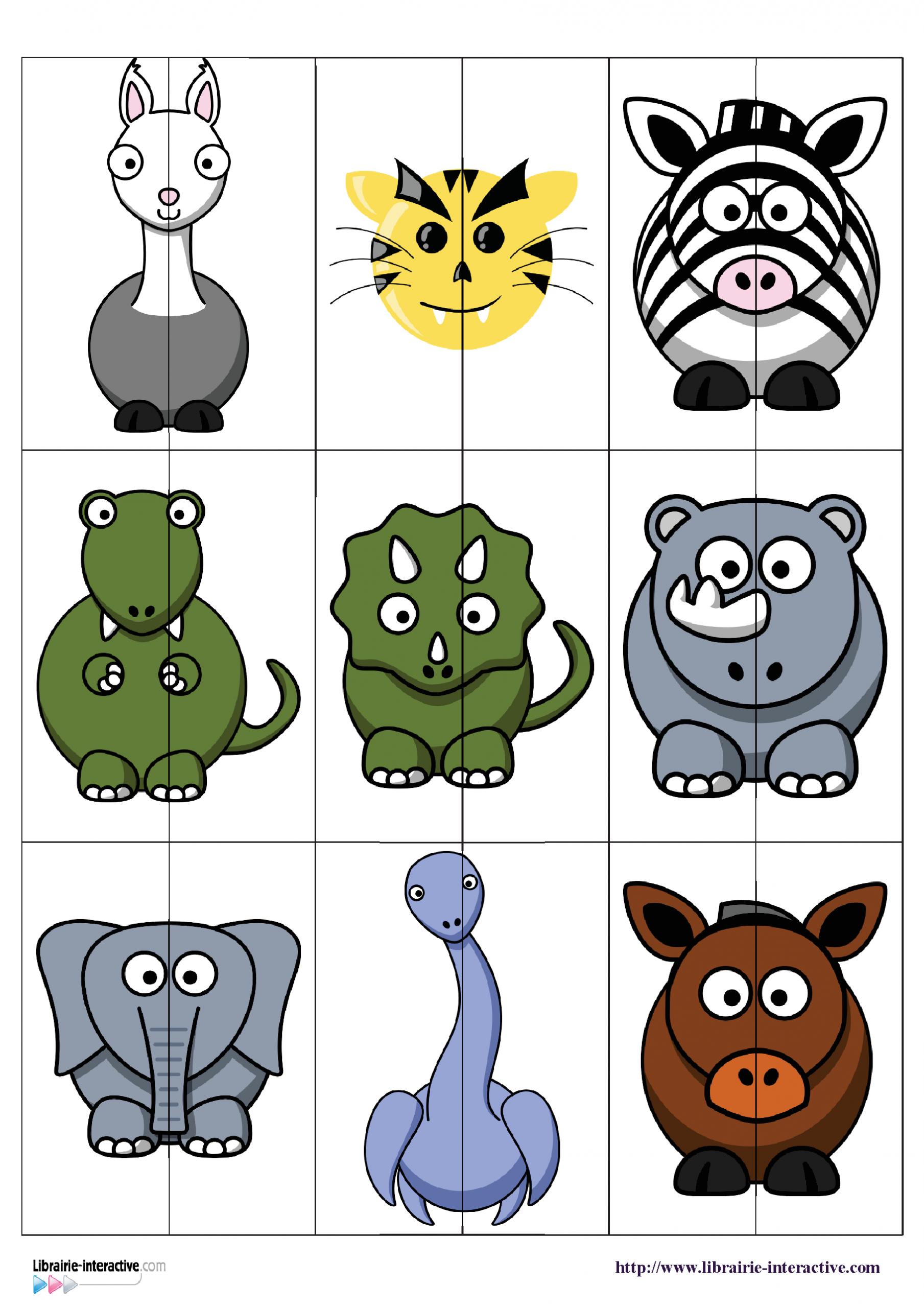 Un Jeu (Puzzles À Deux Pièces) À Plastifier Pour Associer serapportantà Jeux D Apprentissage Maternelle
