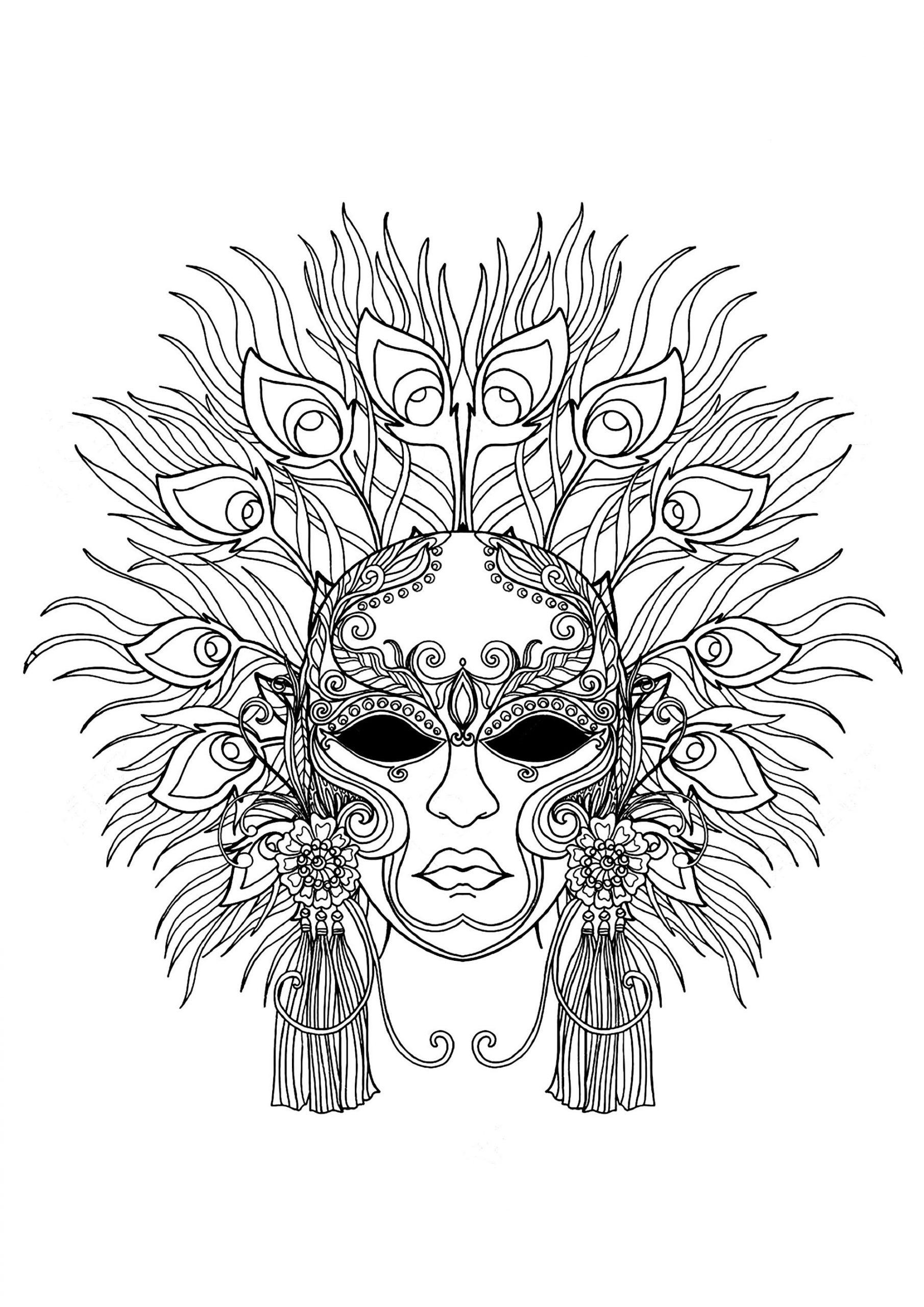 Un Masque Du Carnaval De Venise À Colorier - Coloriage avec Coloriage De Carnaval A Imprimer Gratuit