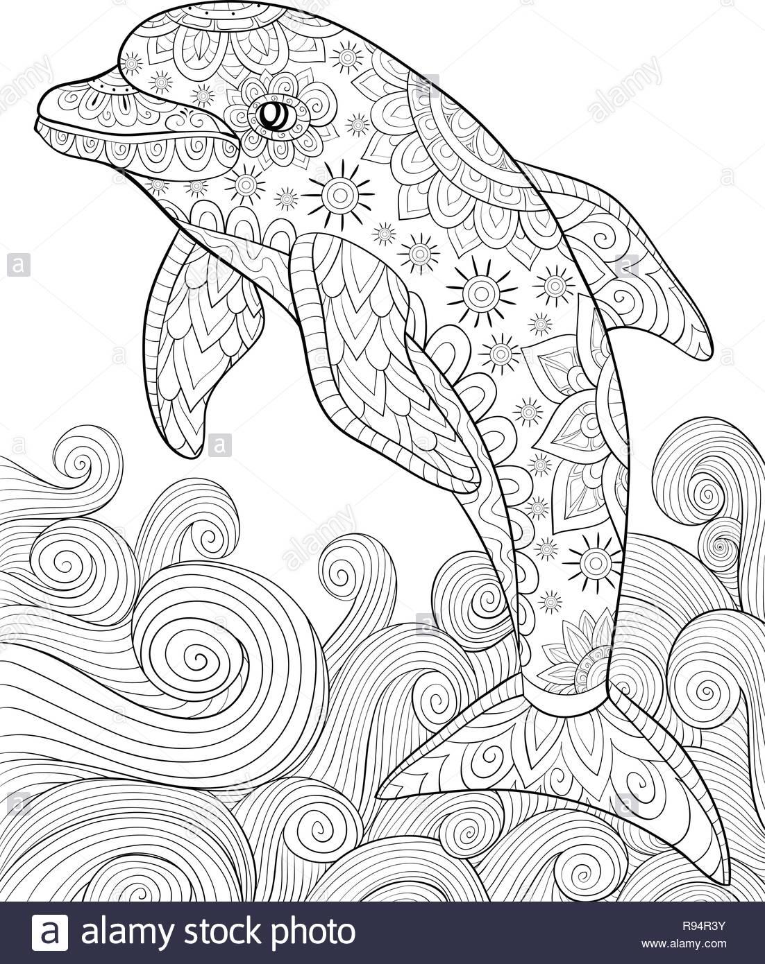 Un Mignon Dolphin Avec Des Ornements Et Des Vagues De Droit concernant Dessin De Vague A Imprimer