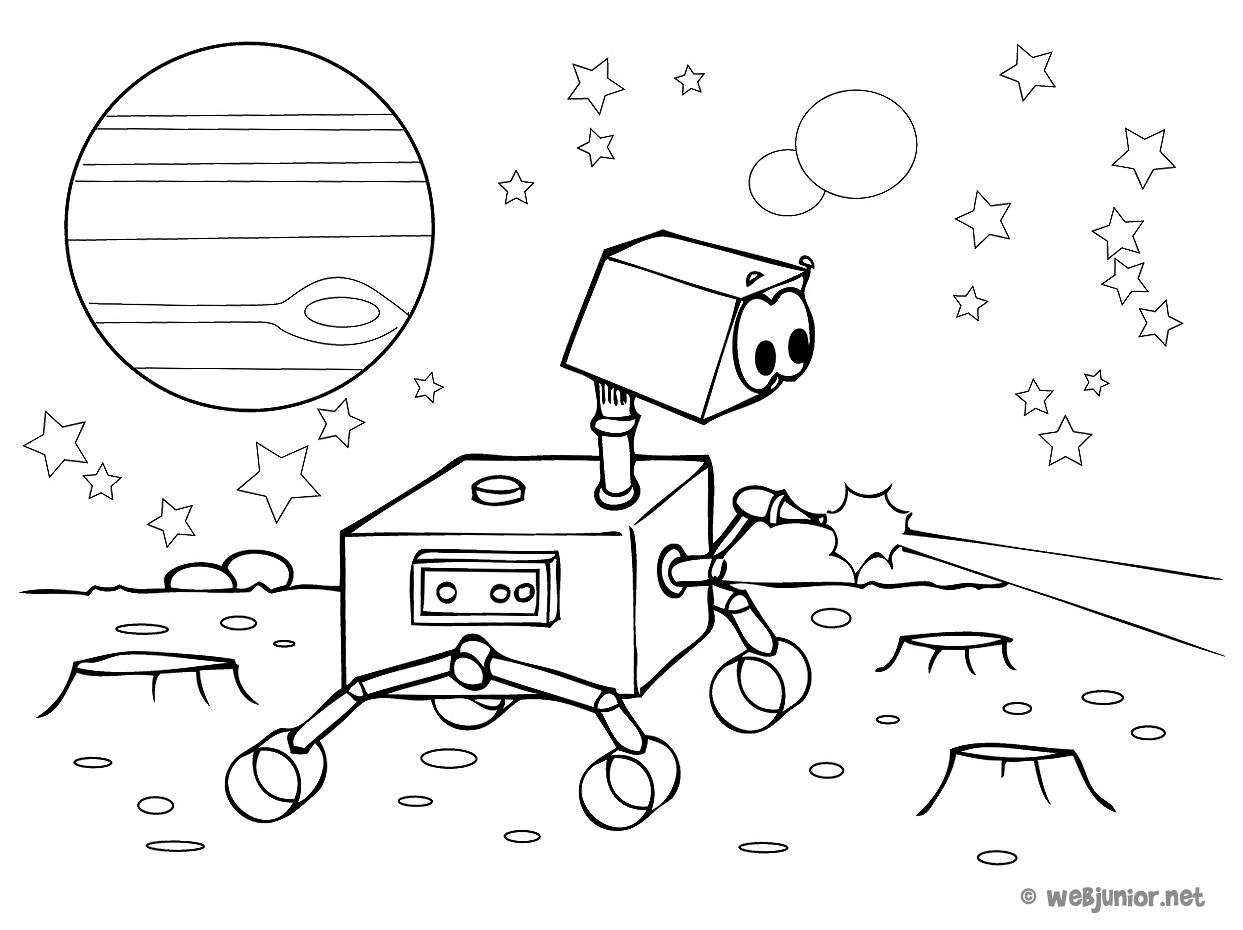 Un Petit Robot Dans L'espace : Coloriage Personnages Gratuit tout Coloriage Robot À Imprimer