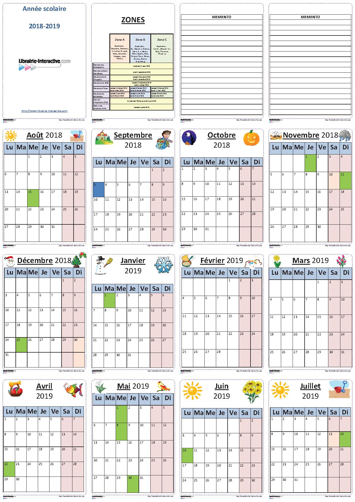 Un Planning Individuel Illustré Pour L'année Scolaire 2018 tout Planning Annuel 2018