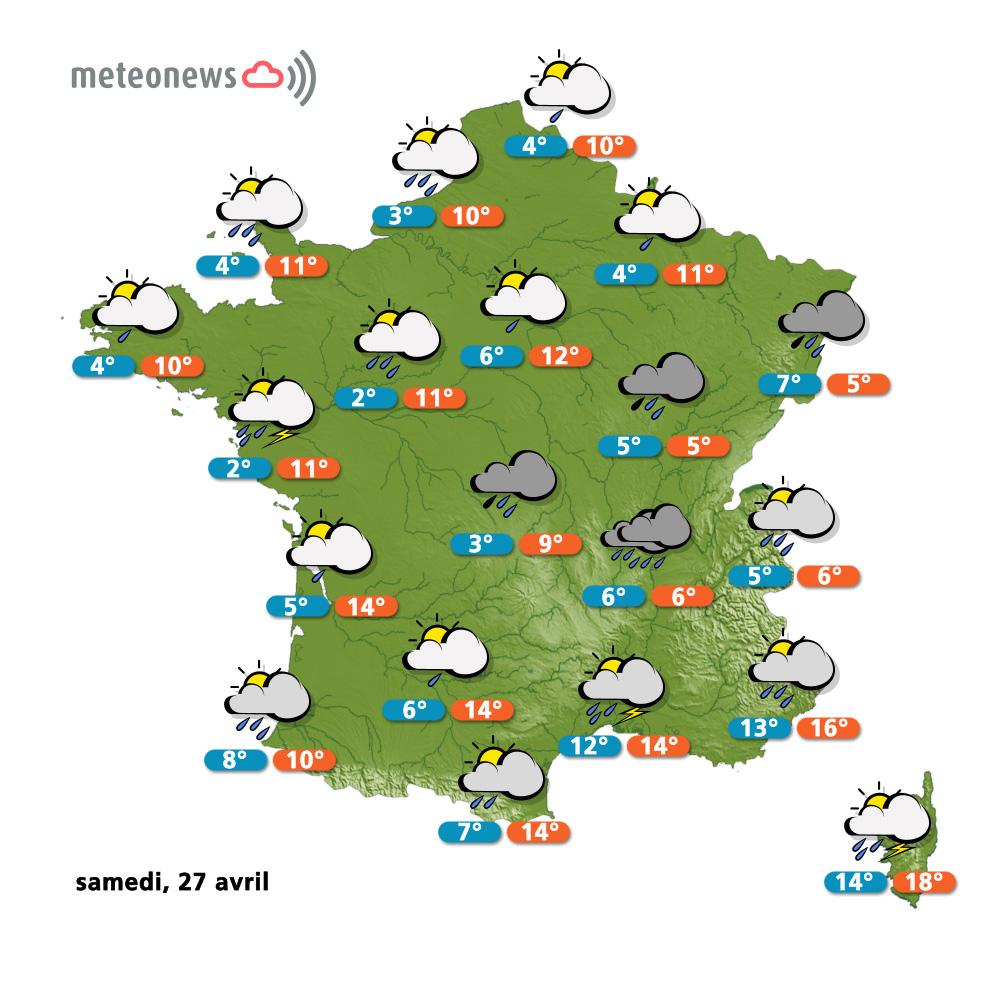 Un Temps Instable En Prévision Météo (France) Du Samedi 27 avec Carte De France Pour Les Enfants