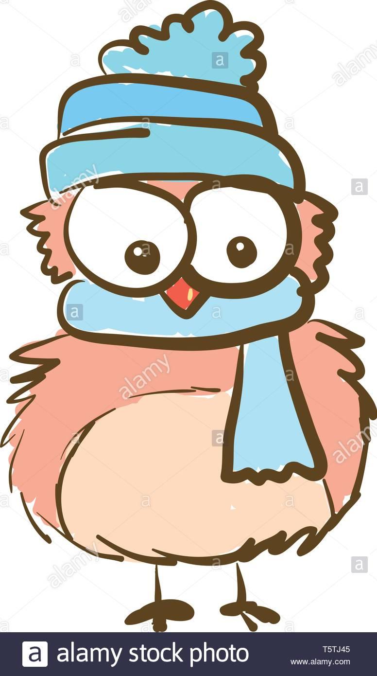 Une Caricature D'un Hibou Avec D'énormes Yeux Bleu Portant avec Hibou Dessin Couleur