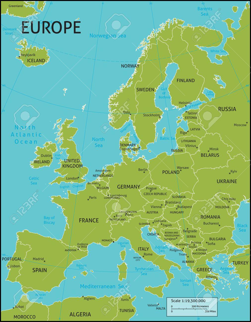 Une Carte De L'europe Avec Tous Les Noms De Pays, Et Les Capitales De Pays.  Organisé Dans La Version De Vecteur Dans Facile D'utiliser Des Couches. intérieur Carte D Europe Avec Pays Et Capitales
