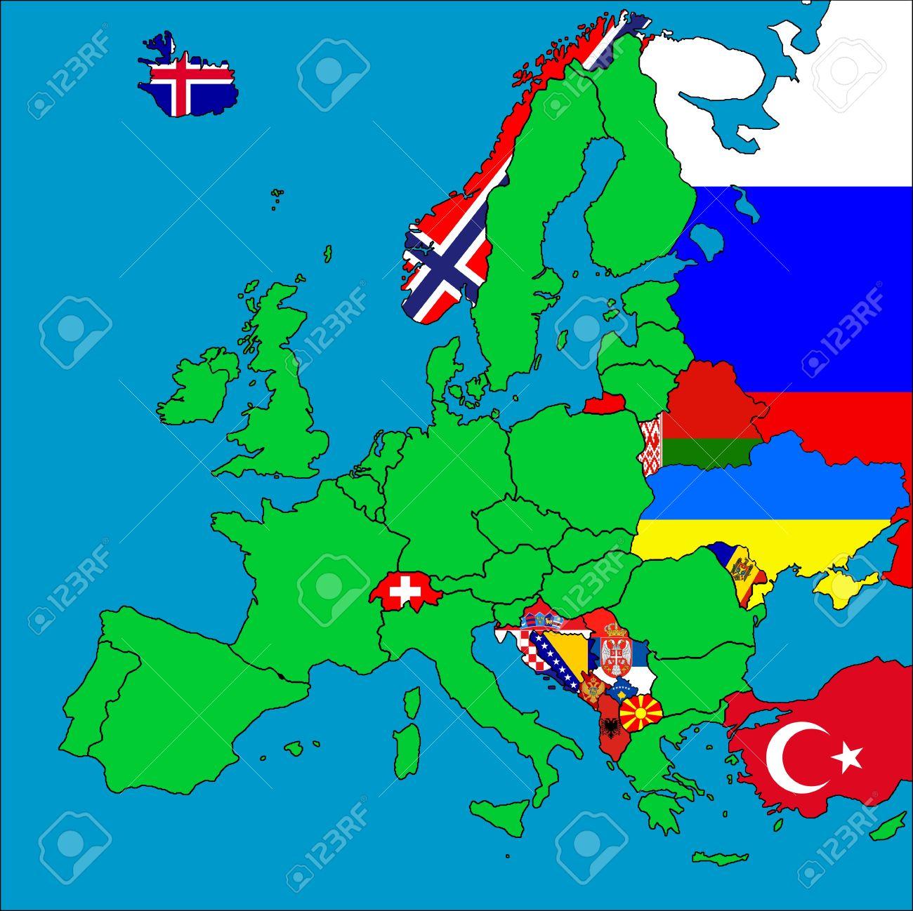 Une Carte De L'europe Avec Tous Les Pays Non Membres De L'ue Représentés  Par Leurs Drapeaux. avec Carte Des Pays Membres De L Ue