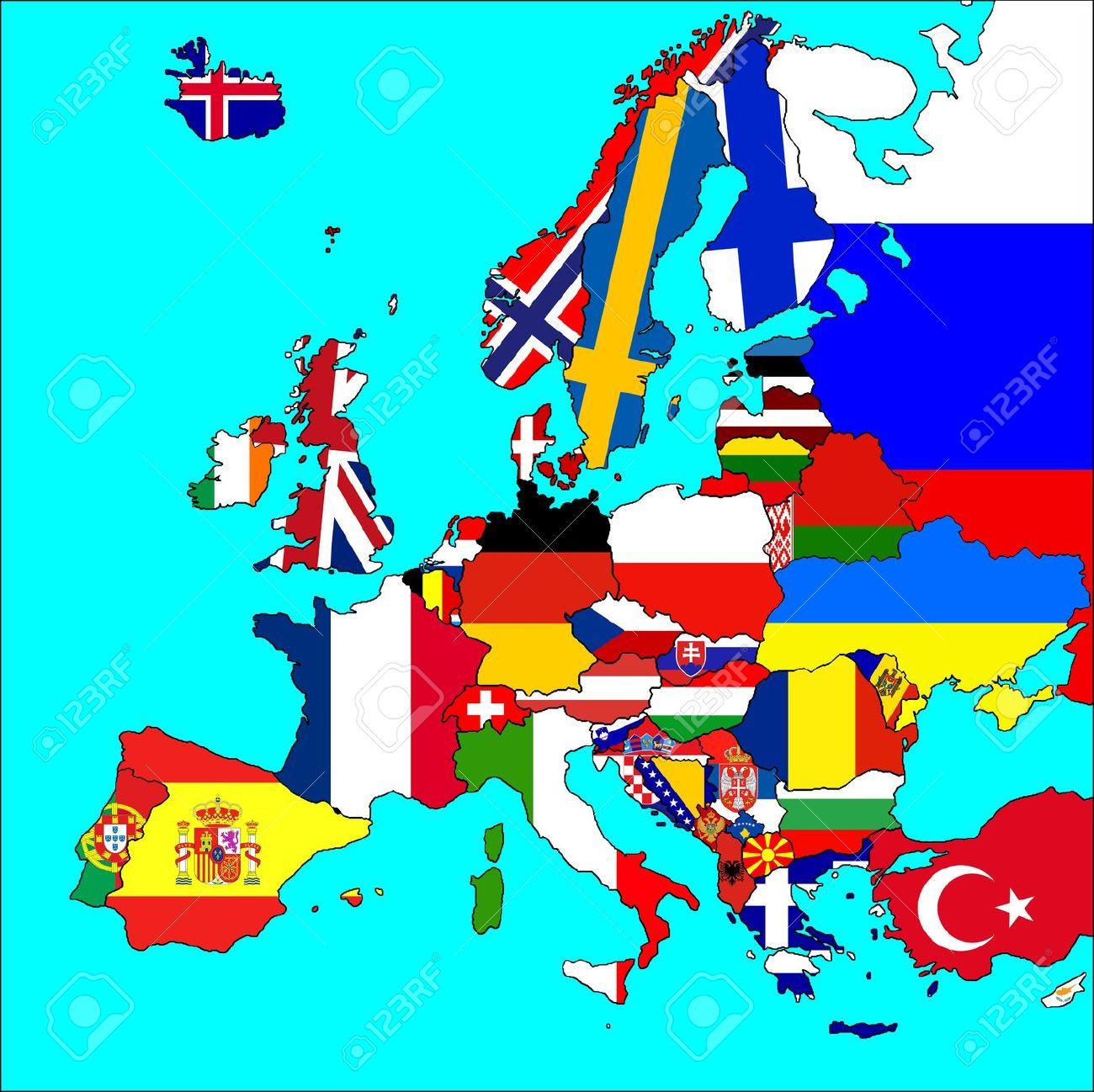 Une Carte De L'europe Avec Toutes Les Frontières Et Les Drapeaux Des Pays  Représentés. serapportantà Carte D Europe Avec Pays