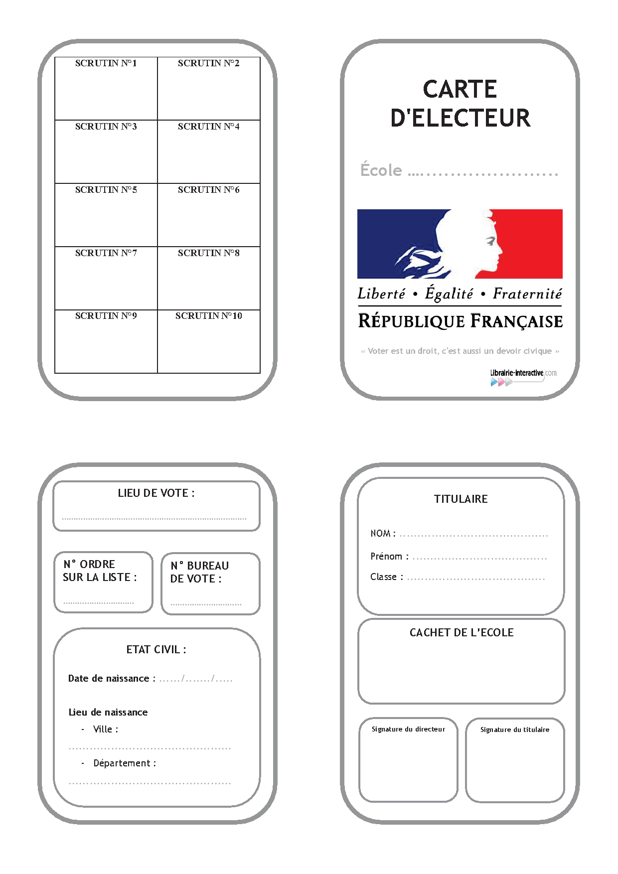 Une Carte D'électeur Pour Organiser Les Élections À L'école intérieur Argent Factice À Imprimer