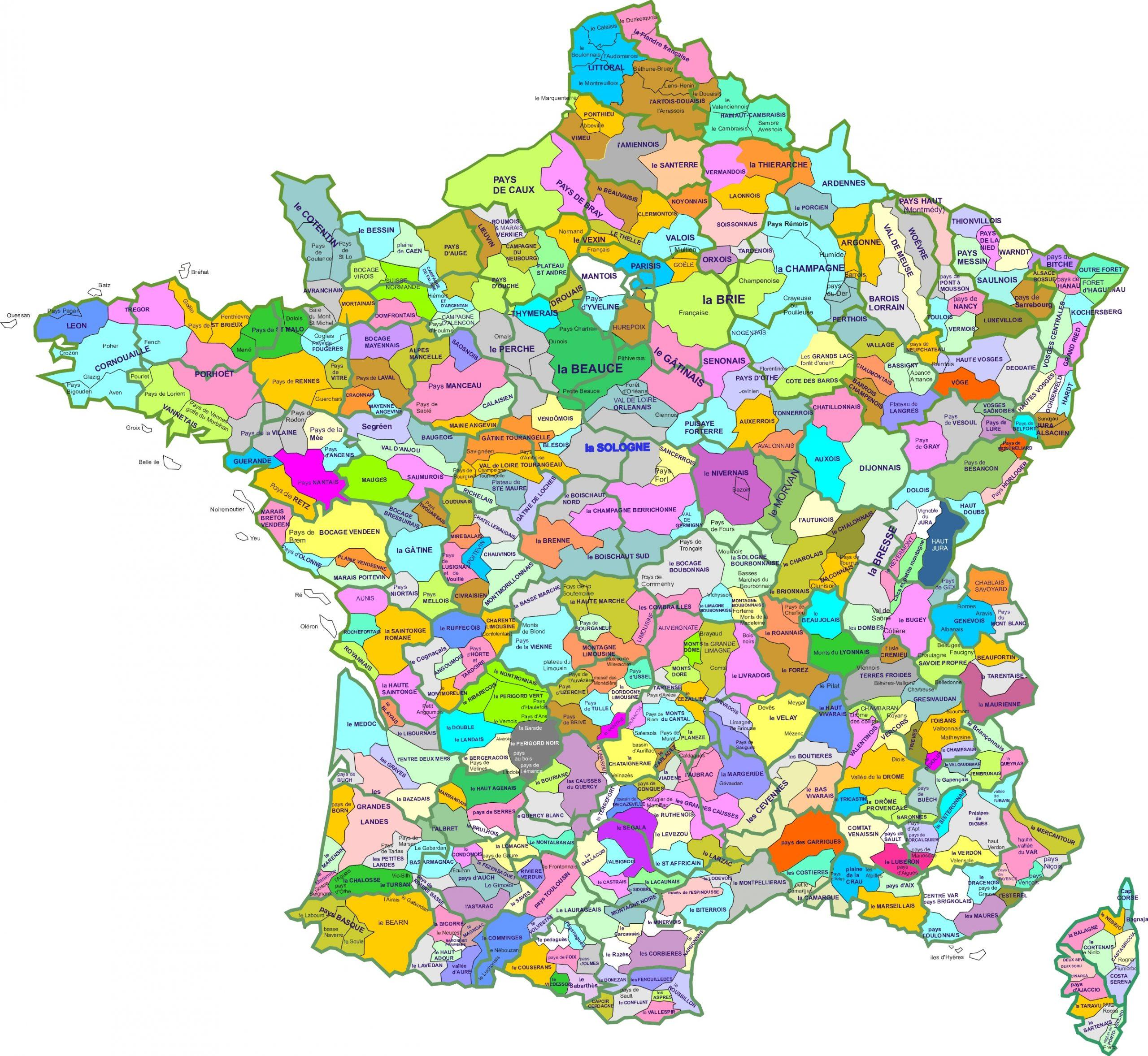 Une Carte Des Régions Naturelles De France destiné Liste Des Régions De France