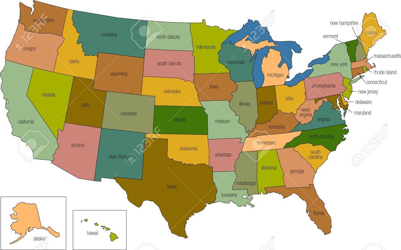 Une Carte En Couleurs Des Etats-Unis D'amérique Avec Les Noms D'états  Appelés dedans Carte Etat Amerique