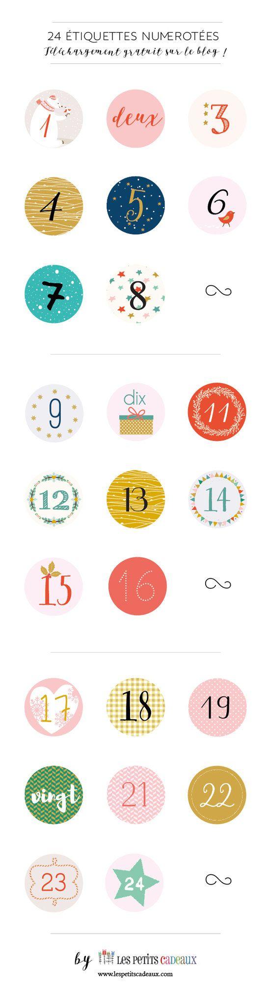 """Une Collection De 24 Étiquettes """"chiffres"""" Gratuites À destiné Etiquette Chiffre A Imprimer"""