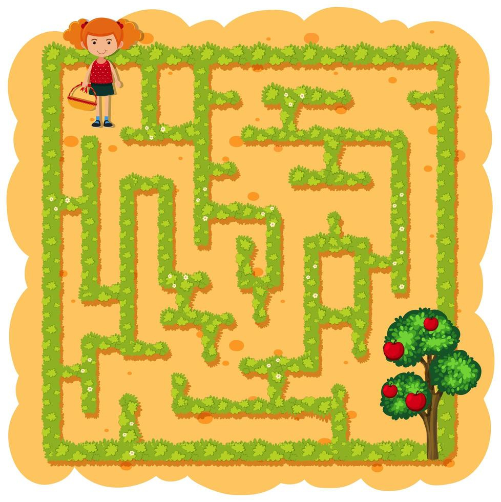 Une Fille Cueillant Un Jeu De Labyrinthe De Fruits dedans Jeux De Labyrinthe Gratuit