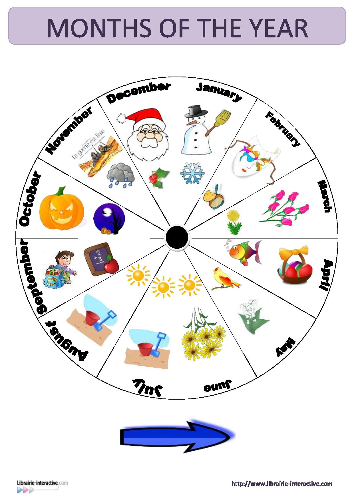Une Horloge Murale Représentant Les Mois De L'année Pour L dedans Jeux Pour Apprendre Les Mois De L Année