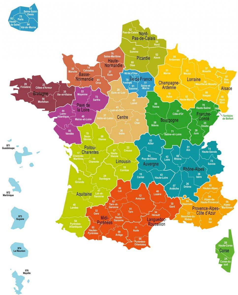 Une Nouvelle Carte De France À 13 Grandes Régions intérieur Carte Départementale De La France