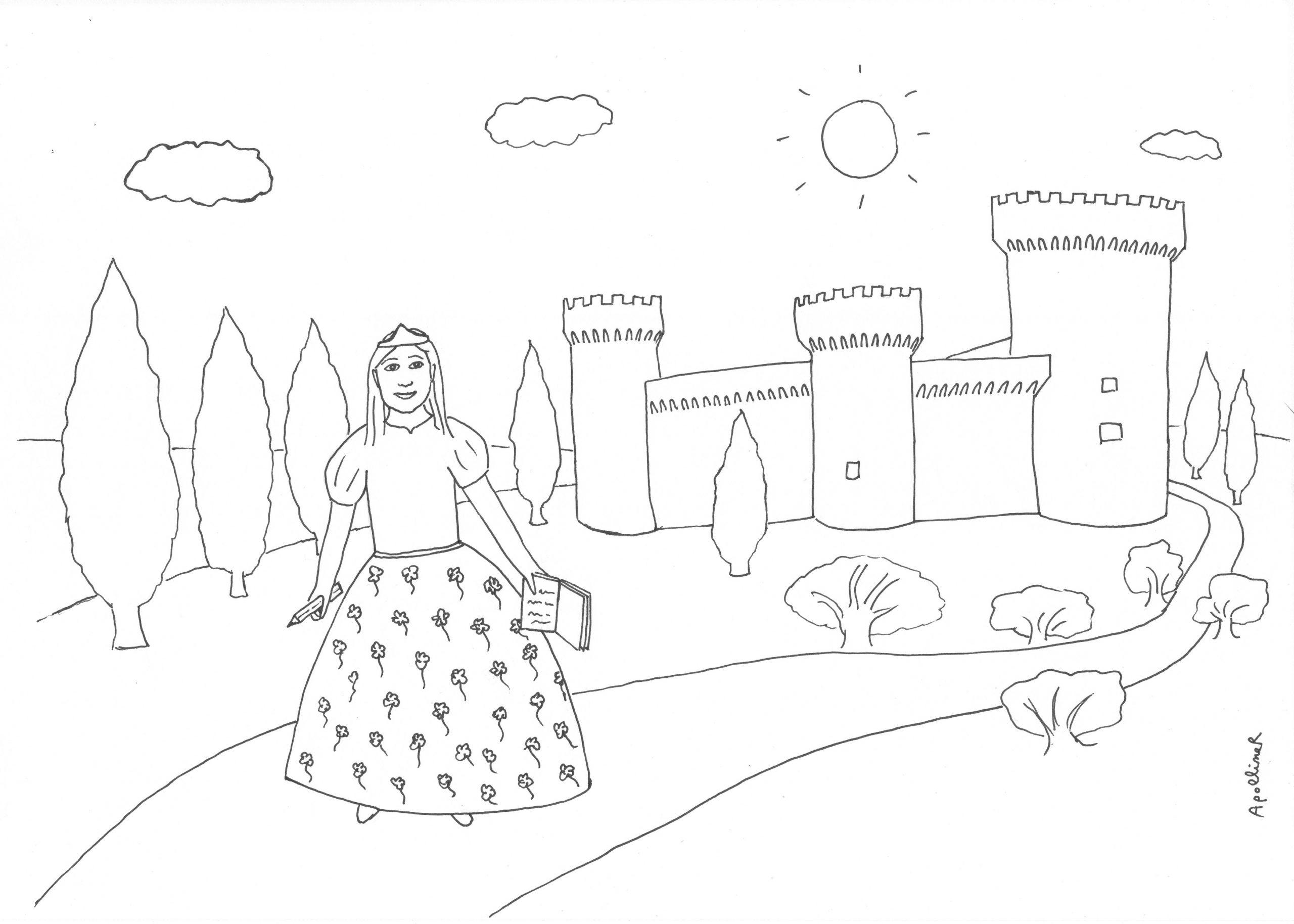 Une Petite Princesse Avec Un Carnet (À Colorier) - Apolliner tout Coloriage À Imprimer Chateau De Princesse