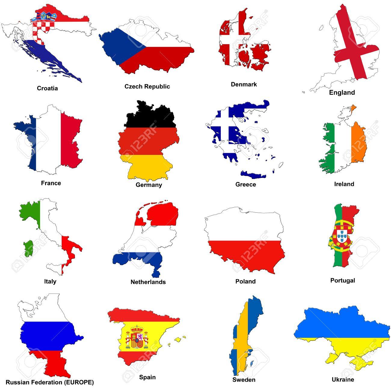 Une Sélection D'images Montrant Les Drapeaux Carte En Forme De Tous Les  Pays Concurrents Du Tournoi 2012 Du Championnat D'europe De Football. concernant Tout Les Pays D Europe