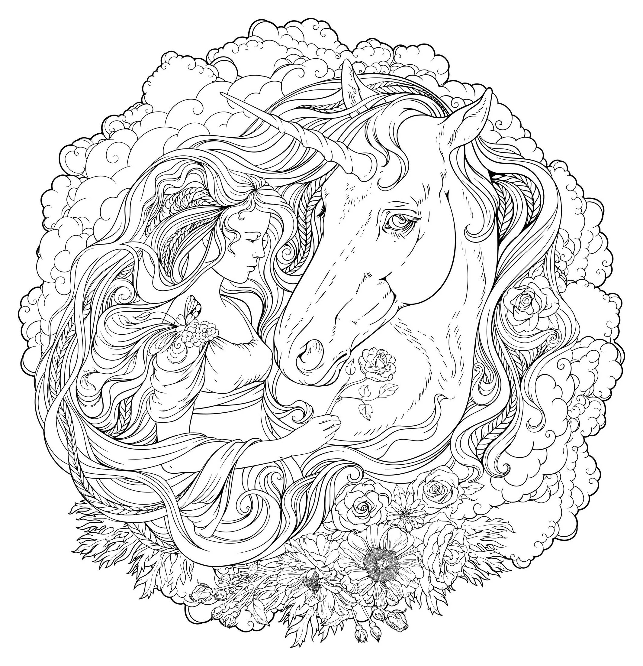 Unicorn And Girl In The Clouds - Mandalas With Characters destiné Mandala Fée