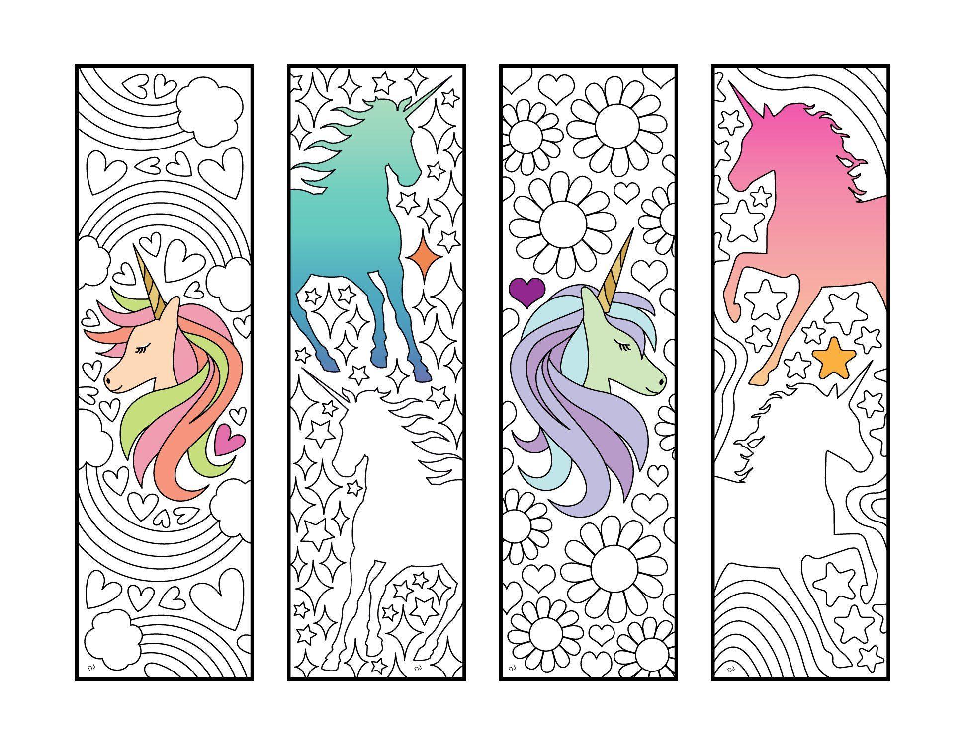 Unicorn Bookmarks - Pdf Zentangle Coloring Page | Coloriage pour Marque Page Gratuit À Imprimer