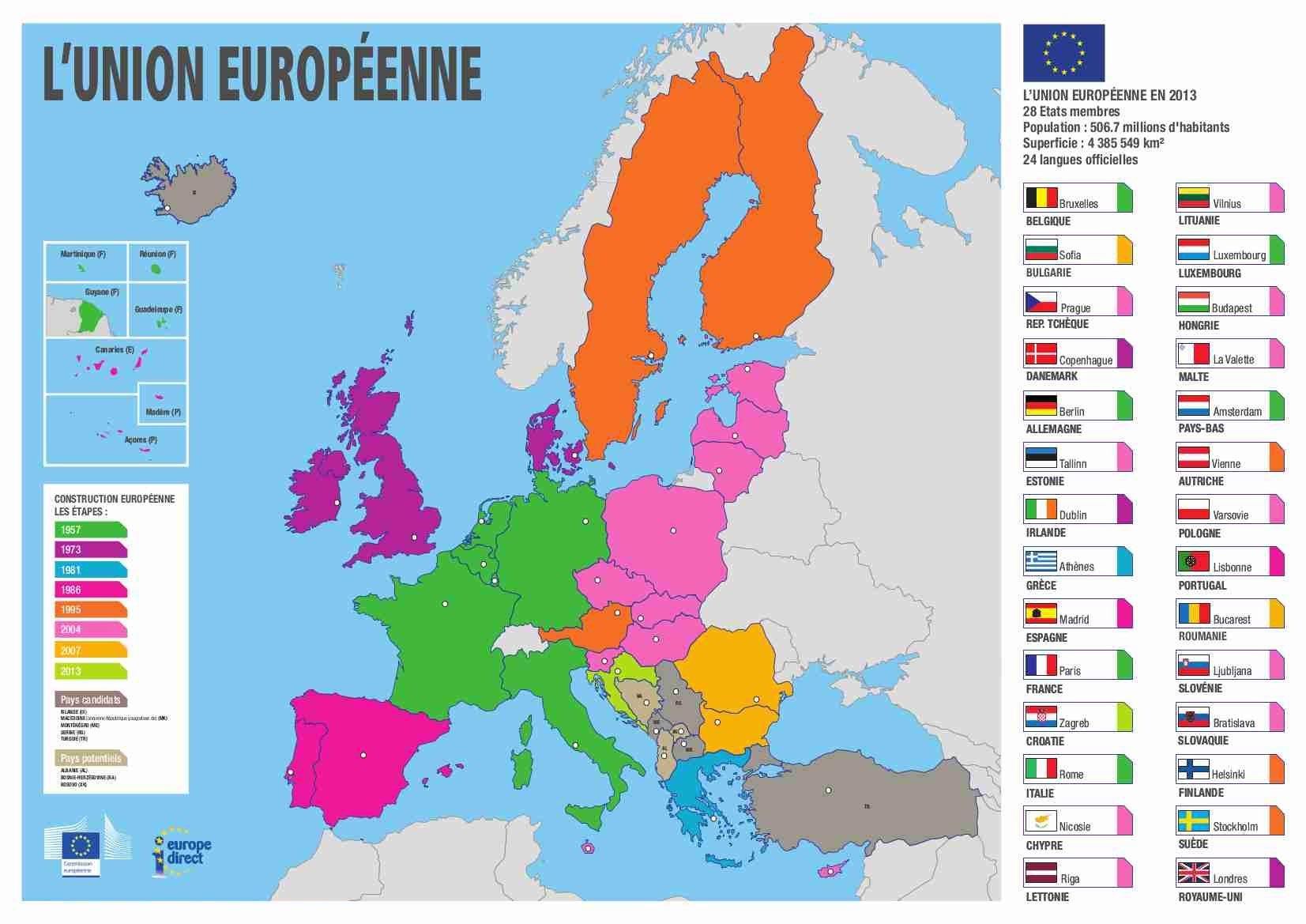 Union Européenne - Arts Et Voyages avec Carte Des Pays De L Union Européenne