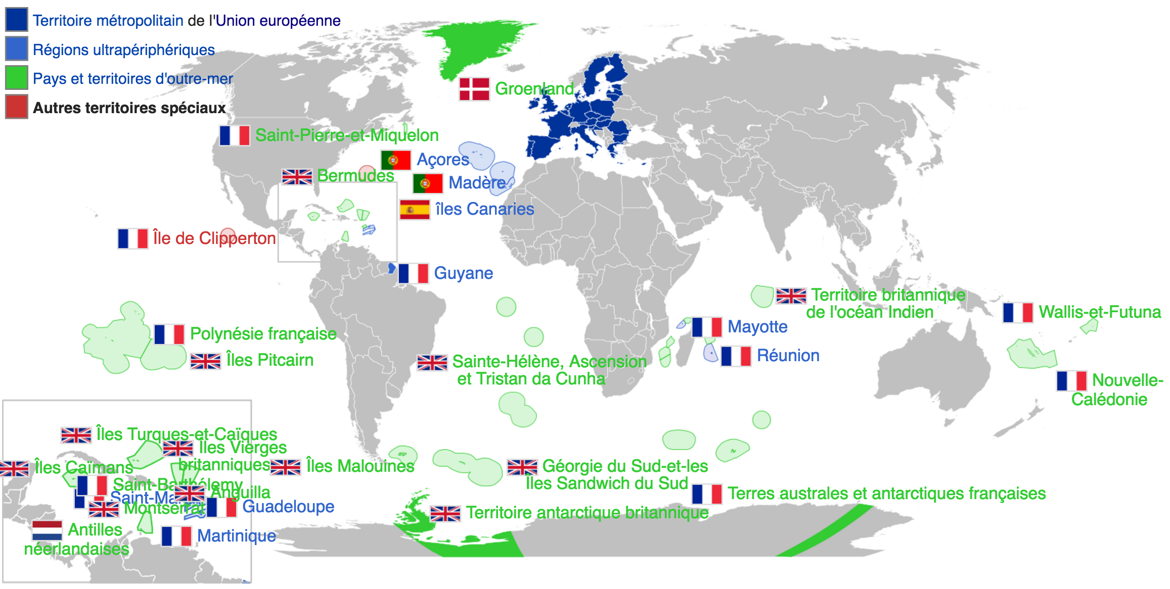 Union Européenne - Territoires Périphériques Associés avec Département D Outre Mer Carte