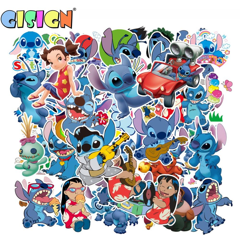 Us $1.9 30% Off|55Pcs Cartoon Lilo Stitch Anime Stickers On The Laptop Kids  Stickers For Luggage Car Motorcycle Skate Suitcase Scrapbook encequiconcerne Lilo Et Stitch Dessin Animé