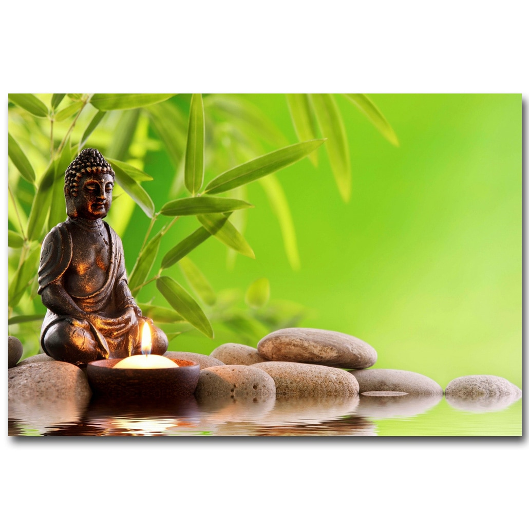 Us $4.31 20% Off|Nicoleshenting Zen Stone And Bamboo Meditation Art Silk  Fabric Poster Huge Print Buddha Picture Room Wall Decor 015|Zen  Stone|Buddha serapportantà Image Zen A Imprimer