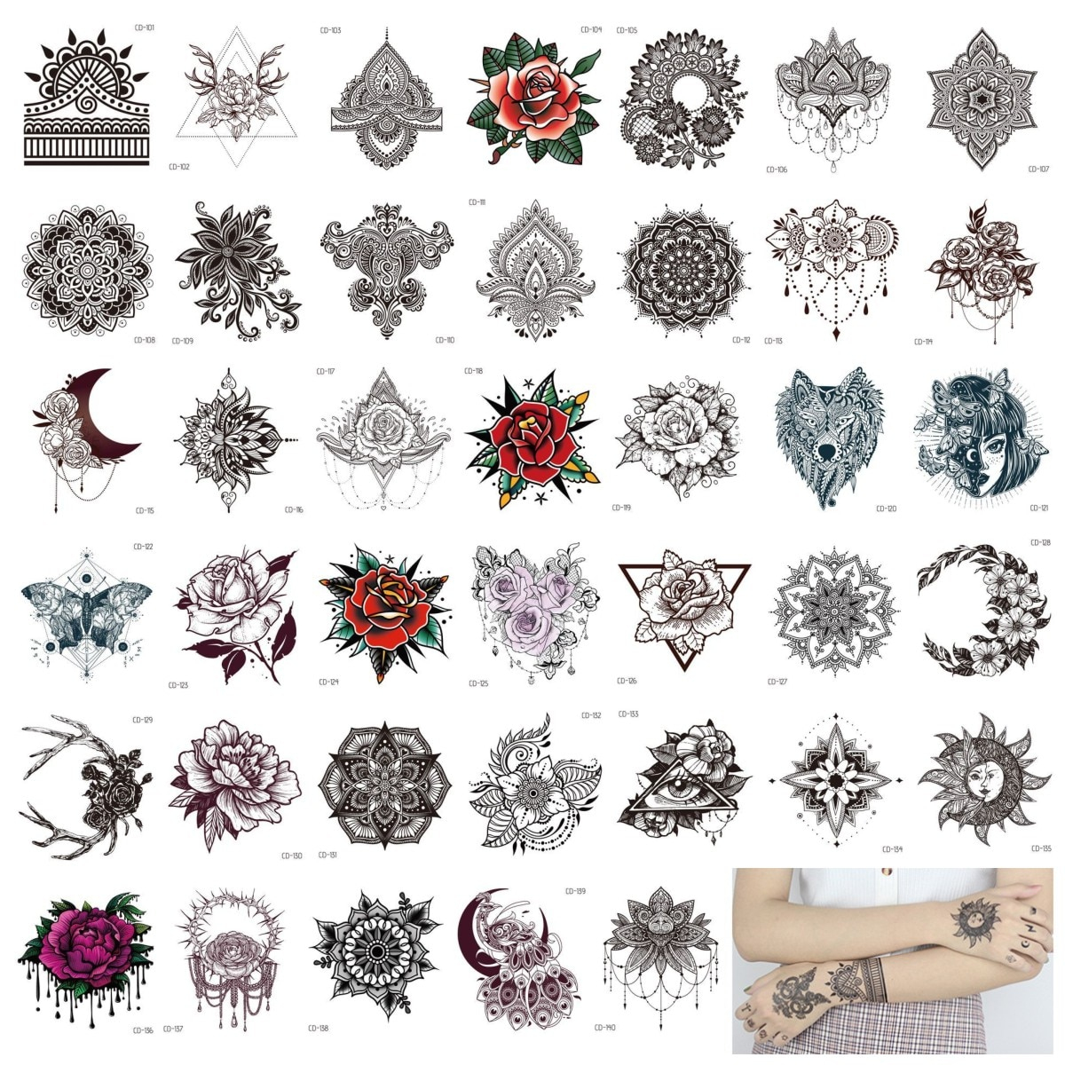 Us $7.79 22% Off|40Pcs Henna India Tattoos Sticker Black Temporary Tattoo  Paper Mandala Flower Rose Fake Tatto Stickers Hand Arm Foot Body encequiconcerne Mandala Fée