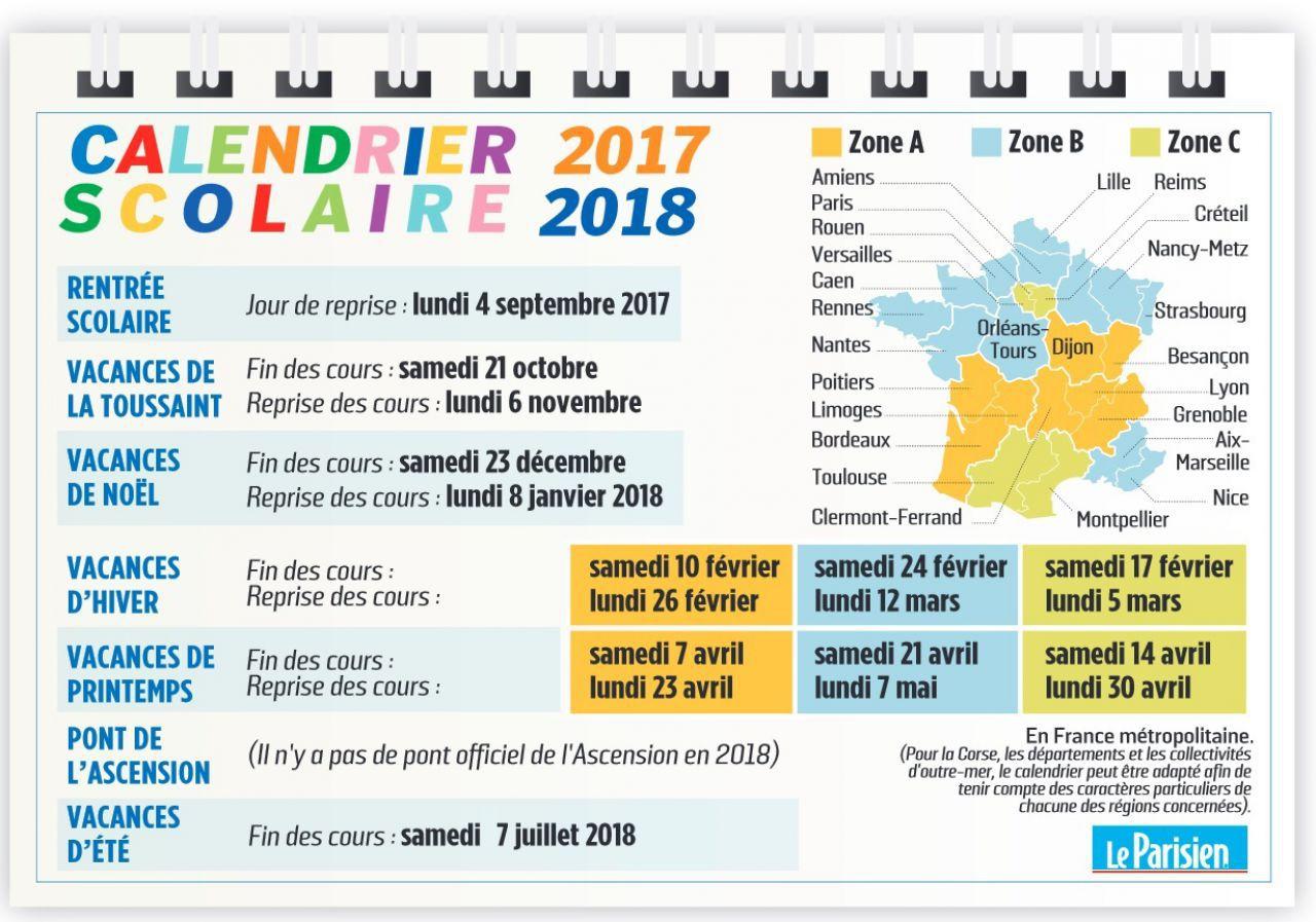Vacances Scolaires 2017-2018 : Le Calendrier À Imprimer - Le pour Calendrier 2018 Avec Jours Fériés Vacances Scolaires À Imprimer
