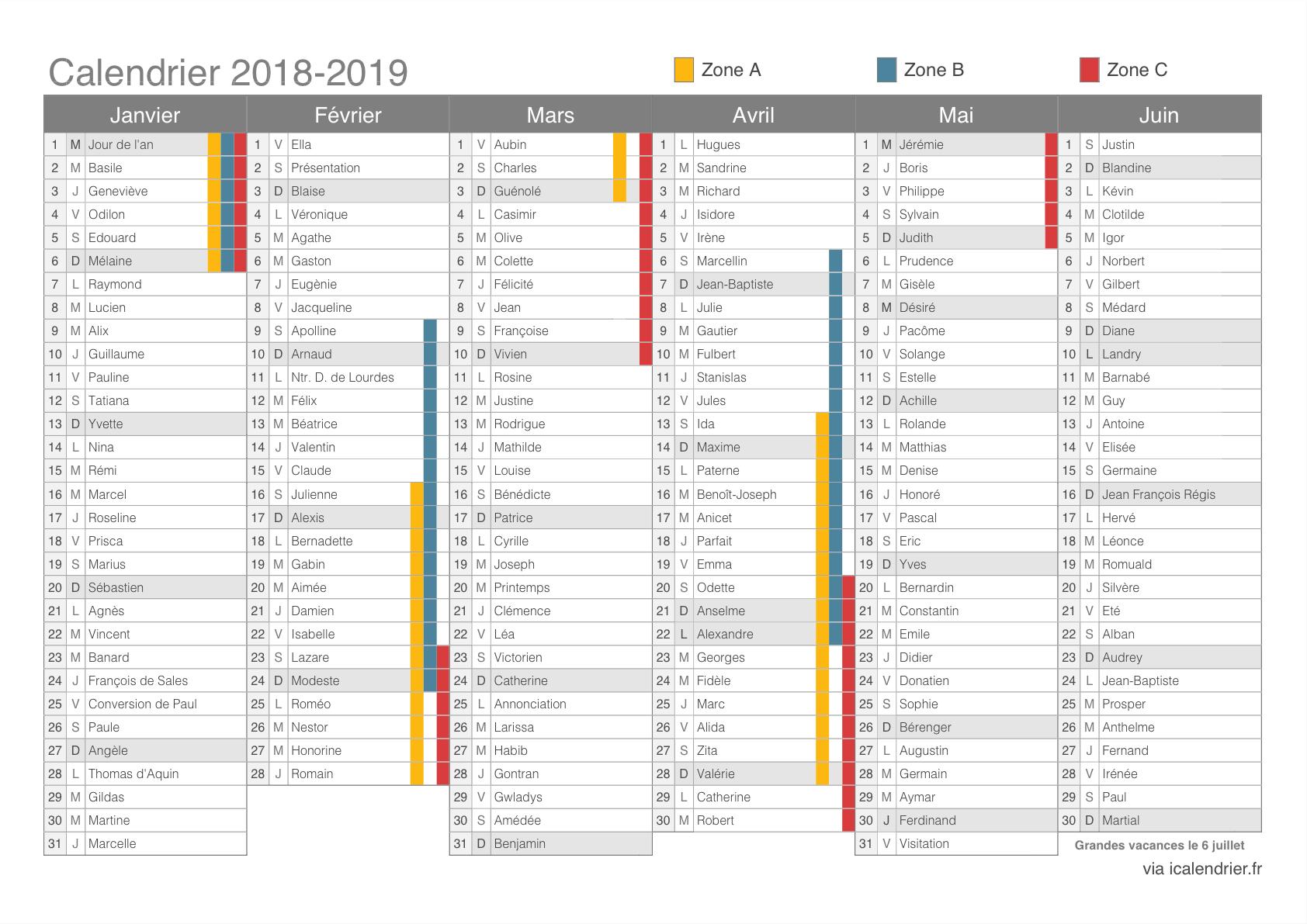 Vacances Scolaires 2018-2019 - Dates - Icalendrier dedans Calendrier 2018 Avec Jours Fériés Vacances Scolaires À Imprimer