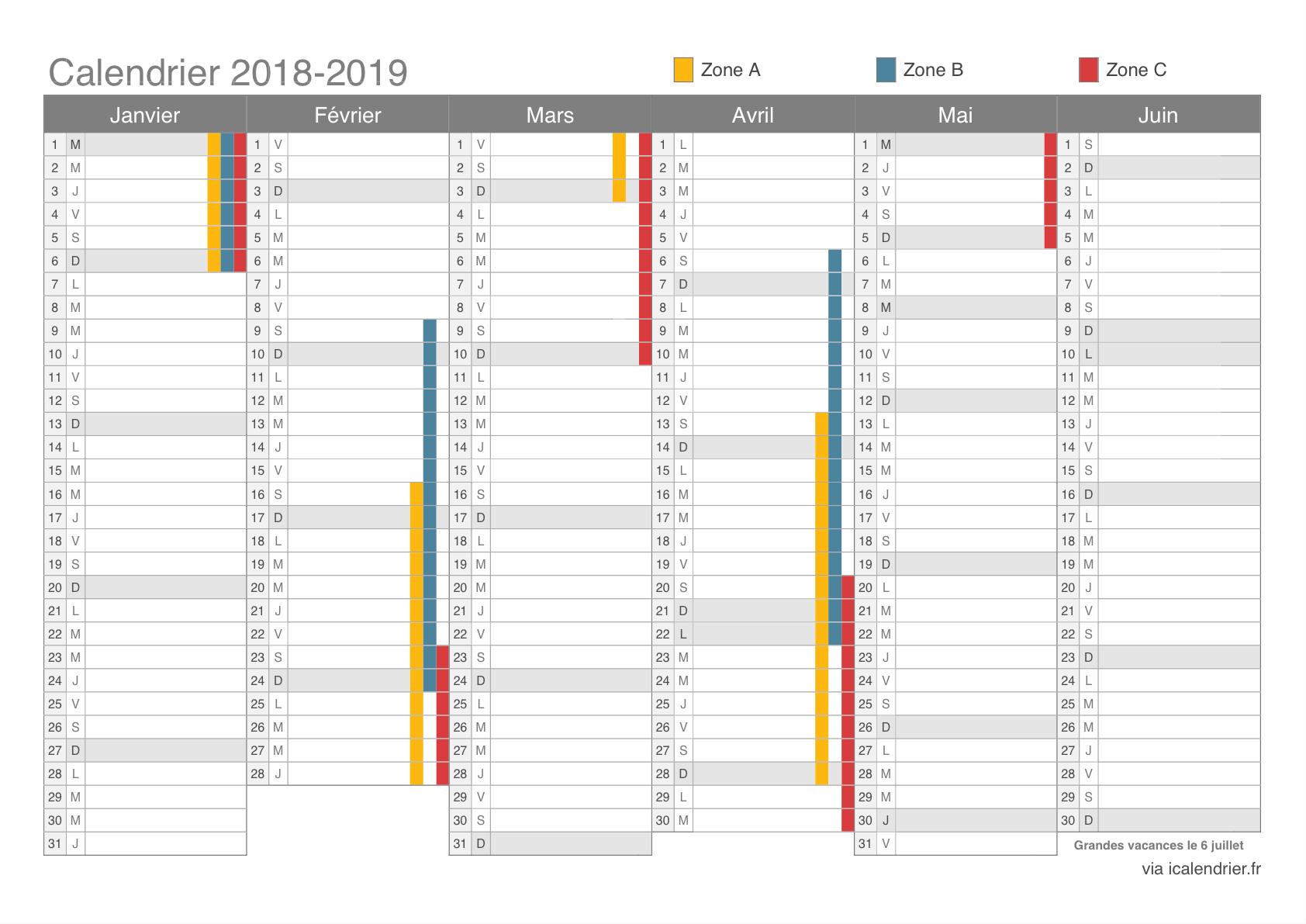 Vacances Scolaires 2018-2019 - Dates - Icalendrier destiné Calendrier 2018 Avec Jours Fériés Vacances Scolaires À Imprimer