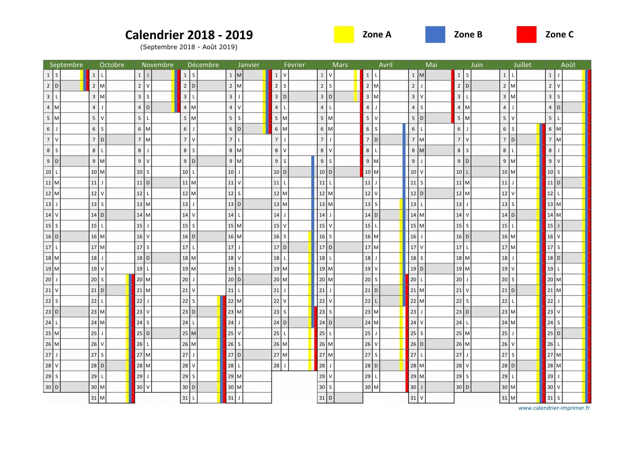 Vacances Scolaires 2018 2019 encequiconcerne Calendrier Annuel 2018 À Imprimer