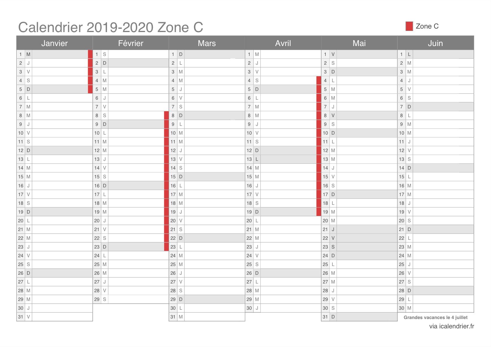 Vacances Scolaires 2019-2020 Zone C - Calendrier Et Dates intérieur Calendrier 2019 Avec Jours Fériés Vacances Scolaires