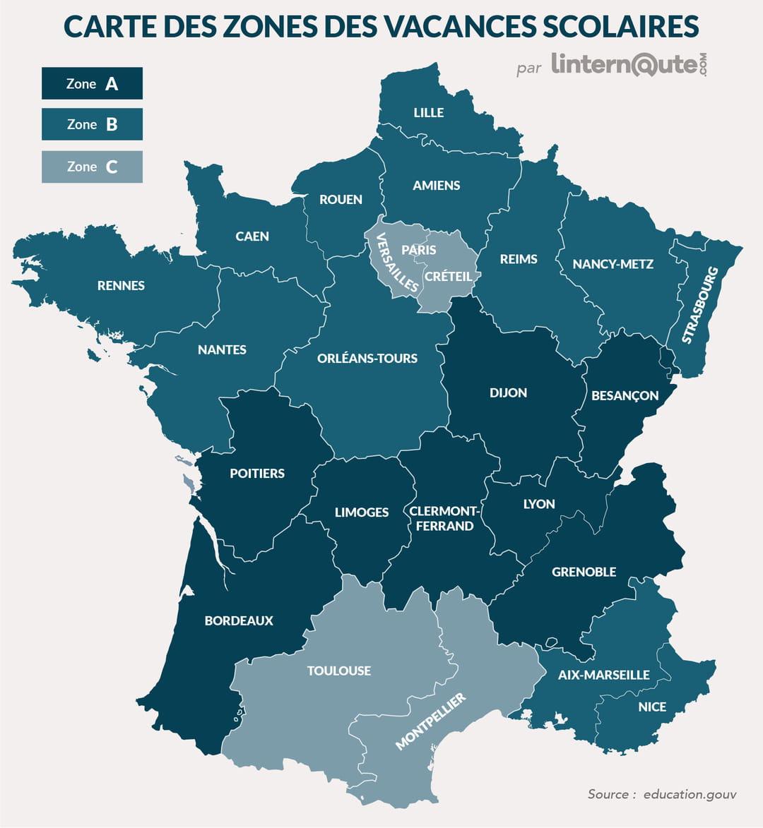 Vacances Scolaires : Brevet, Bac, Le Calendrier Scolaire concernant Liste Des Régions Françaises