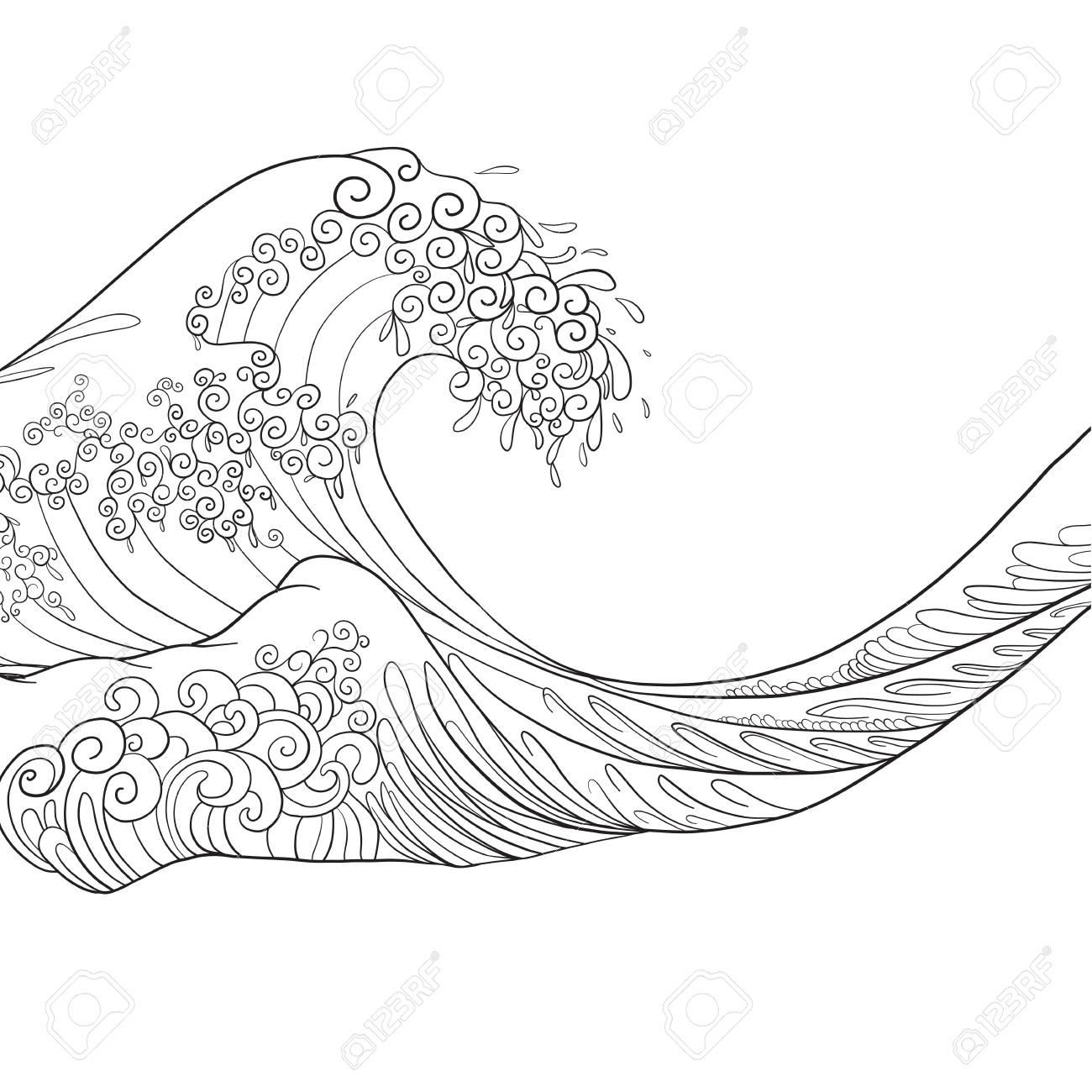 Vague Japonaise, Dessin Isolé. Illustration Vectorielle Stock concernant Dessin De Vague A Imprimer