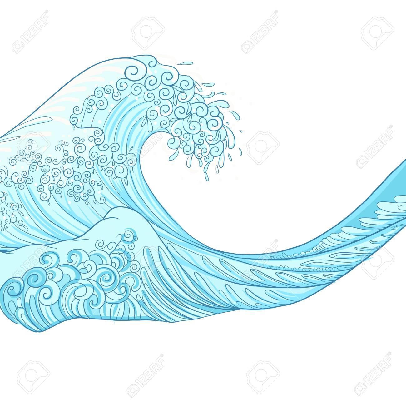 Vague Japonaise, Dessin Isolé. Illustration Vectorielle Stock pour Dessin De Vague A Imprimer