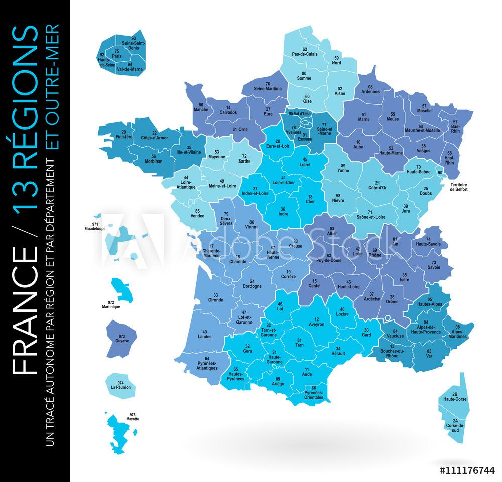 Valokuva Carte De France / 13 Régions Et Outre-Mer Avec Départements,  Numéros Et Chefs-Li destiné Carte Des 13 Régions