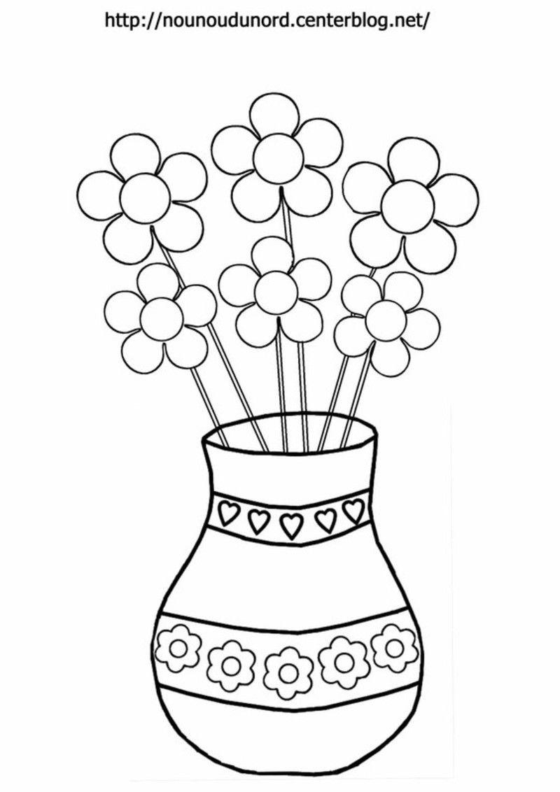 Vase En Coloriage En Couleur Et Pour Es Gommettes concernant Dessin A Colorier De Fleur